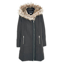 Buy Mango Faux Fur Trim Quilted Hooded Coat, Black Online at johnlewis.com