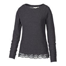 Buy Fat Face Lara Lace Trim Jumper, Black Online at johnlewis.com