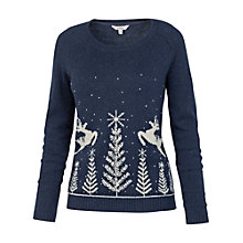 Buy Fat Face Prancing Deer Novelty Jumper, Navy Online at johnlewis.com