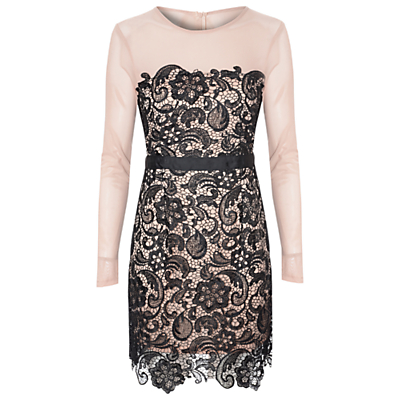True Decadence Lace Bodycon Dress, Nude/Black