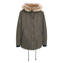 Buy Mango Quilted Parka With Faux Fur Trim, Khaki Online at johnlewis.com