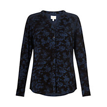 Buy East Willow Print Top, Indigo Online at johnlewis.com