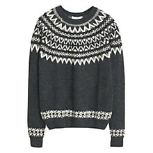 Buy Mango Geometric Jaqcuard Jumper, Medium Grey Online at johnlewis.com