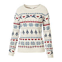 Buy Fat Face Festive Fair Jumper, Ivory Online at johnlewis.com