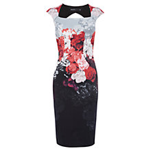 Buy Karen Millen Rose Print Pencil Dress, Red/Multi Online at johnlewis.com