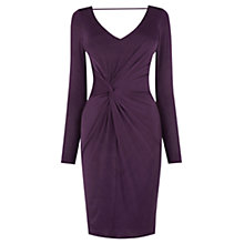 Buy Oasis Slinky Twist Front Dress, Dark Purple Online at johnlewis.com