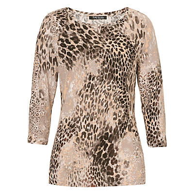 Betty Barclay Animal Print Top, Taupe/Black