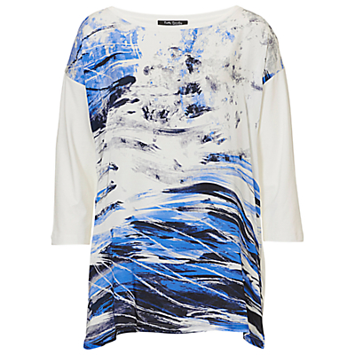 Betty Barclay Abstract Top, Cream/Dark Blue