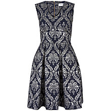 Buy Closet Jacquard V-Neck Pleat Dress, Navy Online at johnlewis.com