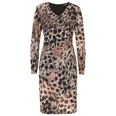 Betty Barclay Animal Print V Neck Dress, Taupe/Apricot