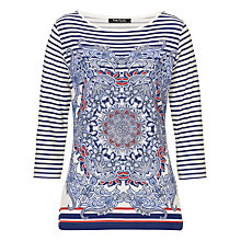 Buy Betty Barclay Print & Stripe Top, Cream/Blue Online at johnlewis.com
