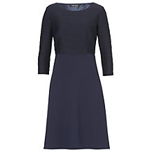 Buy Betty Barclay Rib And Crepe Dress, Navy Blue Online at johnlewis.com