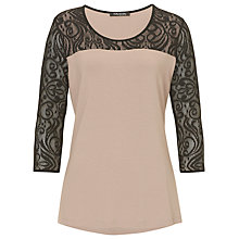 Buy Betty Barclay Jersey And Lace Top, Taupe/Black Online at johnlewis.com