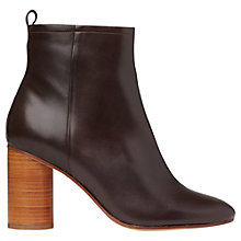 Buy Whistles Camb Stacked Heel Ankle Boots, Chocolate Leather Online at johnlewis.com