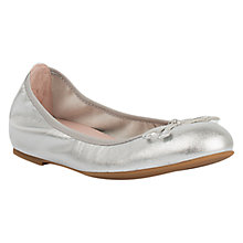Buy Unisa Achor Bow Ballerina Pumps, Silver Online at johnlewis.com