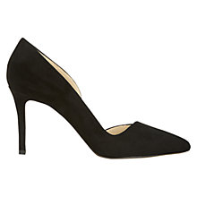 Buy Hobbs Tamsin Asymmetric Stiletto Heeled Court Shoes, Black Suede Online at johnlewis.com