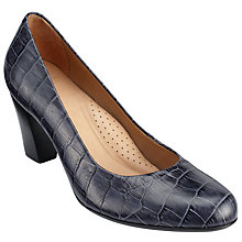 Buy John Lewis Ashlyn Block Heeled Court Shoes, Navy Leather Online at johnlewis.com
