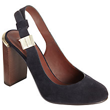 Buy See by Chloé Sling Back Block Heeled Court Shoes, Navy Suede Online at johnlewis.com