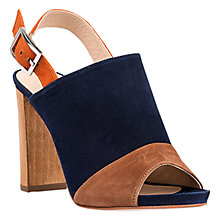Buy Unisa Yuse Peep Toe Block Heeled Sandals, Navy/Walnut Online at johnlewis.com