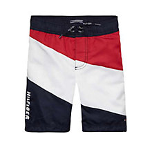 Buy Tommy Hilfiger Boys' Colour Block Swim Shorts, Black Iris Online at johnlewis.com