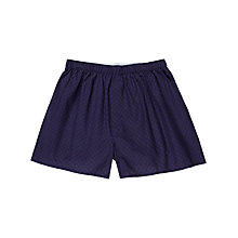 Buy Sunspel Leaf Print Woven Cotton Boxers, Navy Online at johnlewis.com