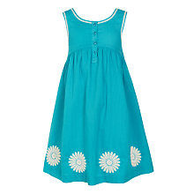 Buy John Lewis Girls' Daisy Applique Dress, Aqua Online at johnlewis.com