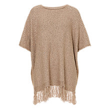 Buy Betty Barclay Fringe Crochet Poncho, Dark Sand Online at johnlewis.com