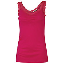 Buy Fat Face Lace Trim Pyjama Vest Top, Poinsettia Online at johnlewis.com