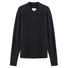 Buy Jigsaw Speckled Wool Rib V-Neck Jumper, Black Online at johnlewis.com