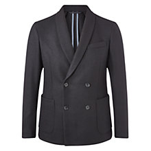 Buy Jigsaw Pique Wool Double Breasted Shawl Blazer, Black Online at johnlewis.com