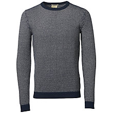 Buy Selected Homme Julian Crew Neck Cotton Jumper, Dark Sapphire/Papyrus Online at johnlewis.com