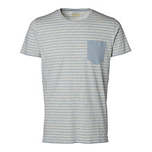 Buy Selected Homme August Stripe T-Shirt, Dusty Blue/Cream Online at johnlewis.com