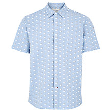 Buy HYMN Ascot Cloud Sun Print Short Sleeve Shirt, Blue/White Online at johnlewis.com