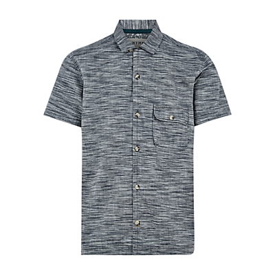 Image of HYMN Tress Space Dye Stripe Short Sleeve Shirt, Grey