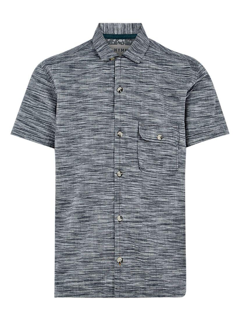 HYMN HYMN Tress Space Dye Stripe Short Sleeve Shirt, Grey