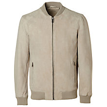 Buy Selected Homme Nean Suede Bomber Jacket, Abbey Stone Online at johnlewis.com