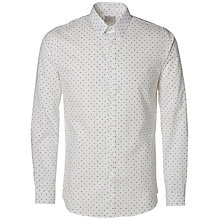 Buy Selected Homme One Haze Print Shirt, Bright White Online at johnlewis.com