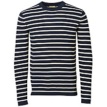 Buy Selected Homme Call Crew Neck Jumper, Dark Sapphire/Papyrus Online at johnlewis.com