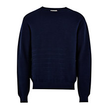 Buy HYMN Walker Patchwork Stripe Cotton Jumper, Navy Online at johnlewis.com