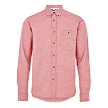 Buy HYMN Collins Slub Cotton Mini Stripe Shirt, Coral Online at johnlewis.com
