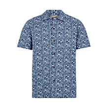 Buy HYMN All Over Sketch Short Sleeve Shirt, Indigo/White Online at johnlewis.com