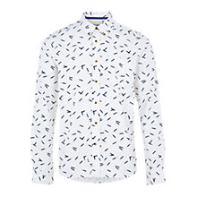 Buy HYMN Perry All Over Pencil Print Long Sleeve Shirt, White Online at johnlewis.com