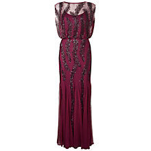 Buy Aidan Mattox Cap Sleeve Gown With Godet Inserts, Burgundy Online at johnlewis.com
