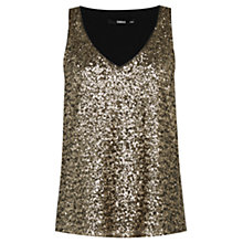 Buy Oasis Sequin Front Vest, Gold Online at johnlewis.com