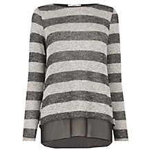 Buy Oasis Stripe Chiffon Hem Jumper, Mid Grey Online at johnlewis.com