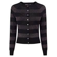 Buy Karen Millen Metallic Stripe Merino Cardigan, Pewter Online at johnlewis.com