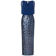 Buy Aidan Mattox Chiffon Blouson Gown With Long Sequin Skirt, Navy Online at johnlewis.com
