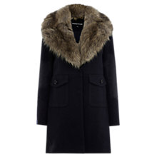 Buy Warehouse Extreme Faux Fur Collar Coat, Navy Online at johnlewis.com