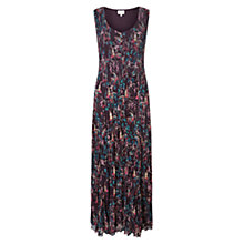 Buy East Song Bird Pleat Maxi Dress, Plum Online at johnlewis.com
