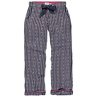 Fat Face Heart Striped Pyjama Bottoms, Twilight